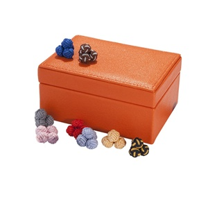 Small Box of silk cufflinks  Brights Leather
