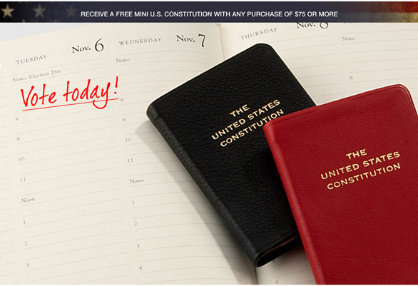 Receive a free Mini U.S. Constitution with any order of $75 or more